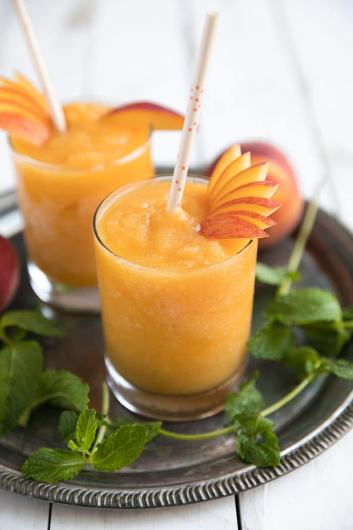 summertime wine slushies with peaches