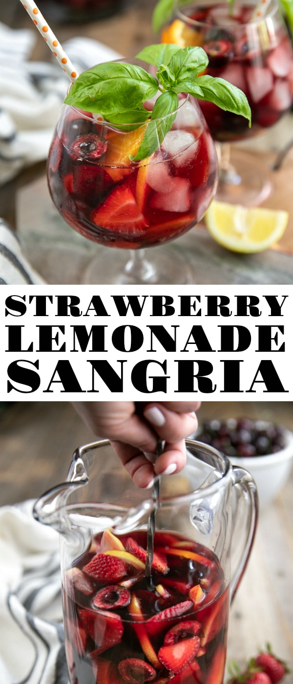 Cherry Strawberry Lemonade Sangria, made with fruity red Pinot Noir, fresh summer strawberries, cherries, spiced rum, strawberry lemonade, basil, and sparkling water. Delicious year-round, this easy strawberry sangria recipe is sure to be your new favorite cocktail. #sangria #strawberrylemonade #cherrysangria #strawberrysangria #summercocktail #summerdrink #rum #wine #fruitydrinks | For this recipe and more visit, https://theforkedspoon.com