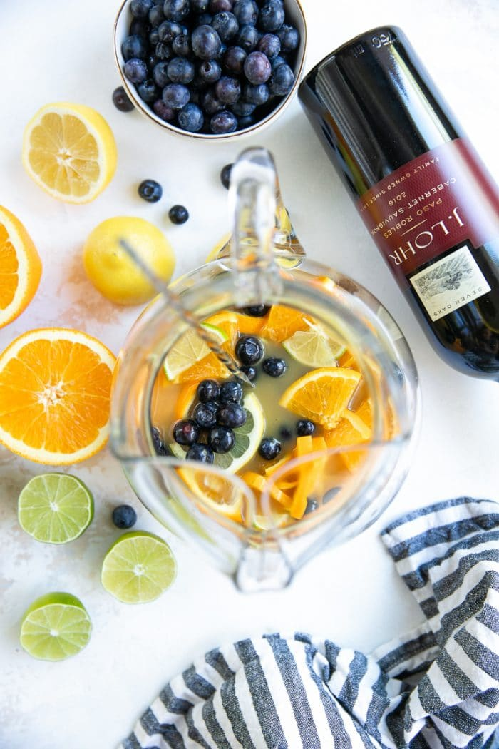 Preparing the Blueberry Sangria Recipe