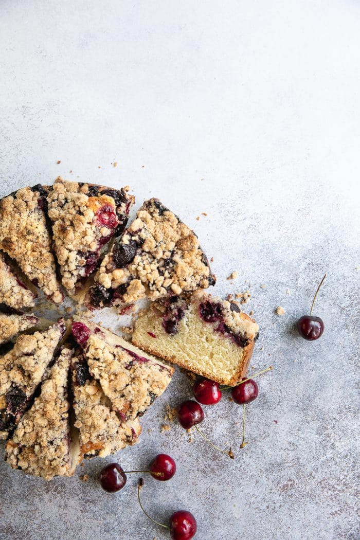 buttery and bright cherry coffee cake with fresh cherries