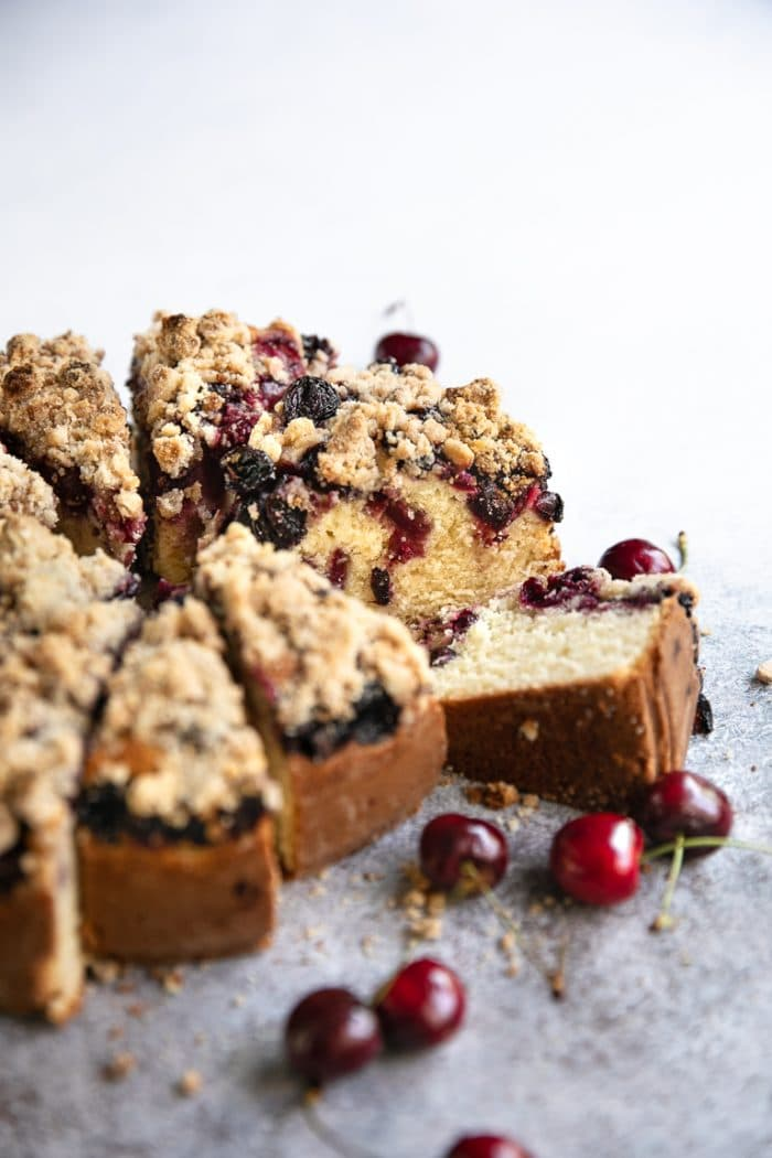 cherry coffee cake with fresh cherries