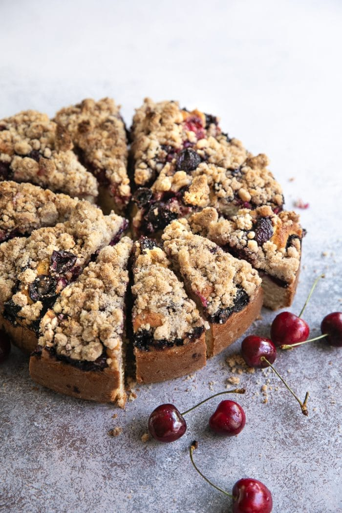 Sliced Cherry crumb cake