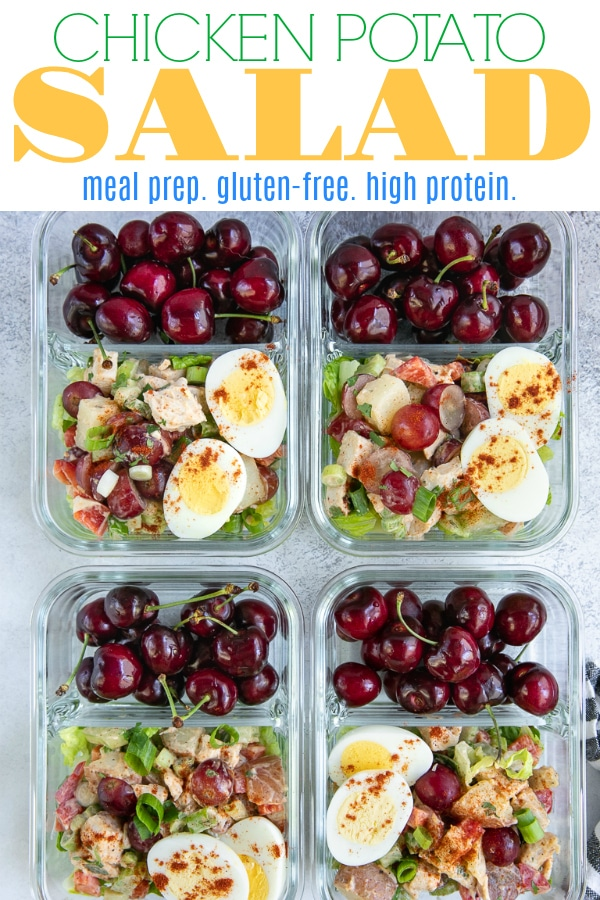 Chicken Potato Salad (plus meal prep) is made with juicy chicken, red potatoes, sweet grapes, crunchy celery and bell pepper, and green onions. A lighter and healthier alternative to the classic potato salad, this Chicken Potato Salad Recipe is an easy, protein-packed meal prep solution #baktoschool #chickenpotatosalad #potatosalad #chickensalad #mealprep #chickenmealprep #easylunch #glutenfree #chickenrecipe | For this recipe and more visit, https://theforkedspoon.com