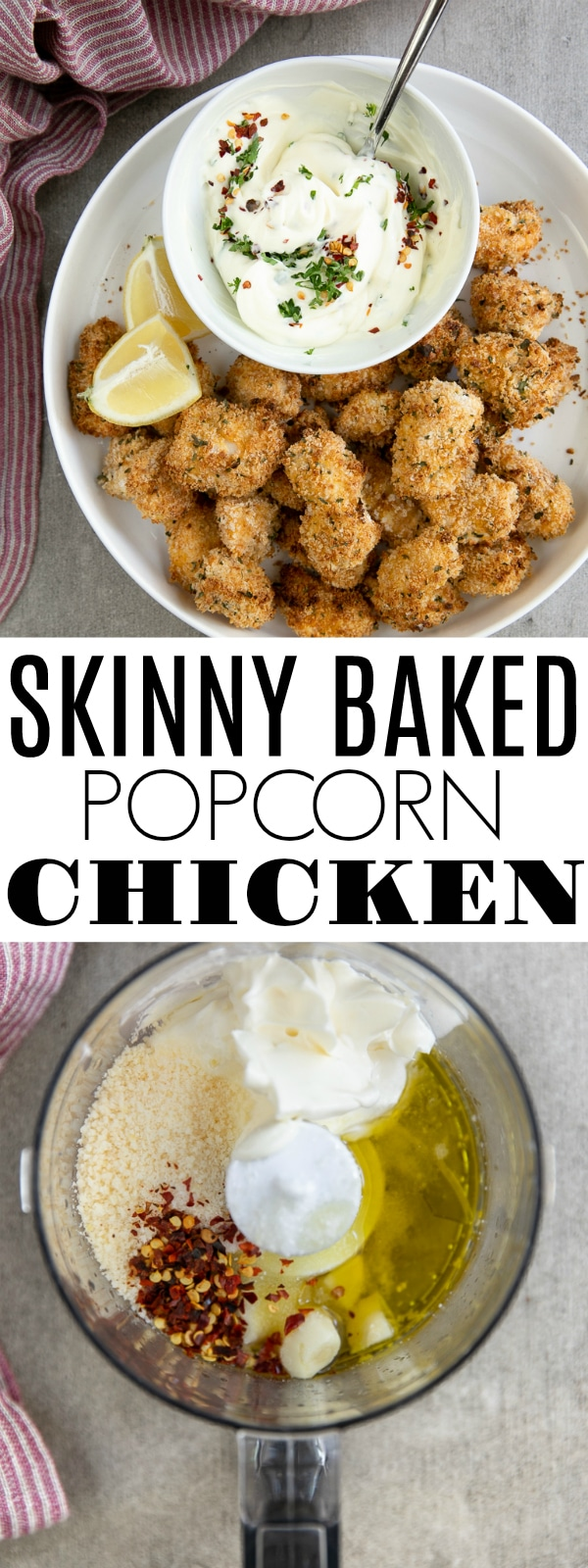 Skinny Baked Popcorn Chicken Recipe with Creamy Garlic Aioli is baked, not fried, and loved by all ages. Enjoy this popcorn chicken for game day or as a fun and easy weeknight dinner. #bakedchicken #chicken #popcornchicken #chickenpoppers #easydinnerrecipe #aioli | For this recipe and more visit, https://theforkedspoon.com