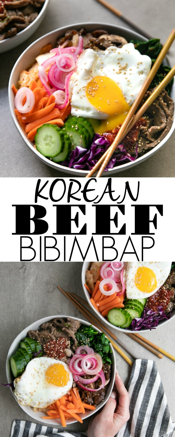 Easy Korean Beef Bibimbap Recipe- warm rice topped with thinly sliced Korean beef, mixed vegetables, kimchi, gochujang, and a fried egg. Mix it all together, and the result is a delicious and easy Korean Bibimbap dinner favorite the whole family will love #bibimbap #koreanfood #koreanbeef #beefbibimbap #kimchi #gochujang #bulgogi | For this recipe and more visit, https://theforkedspoon.com