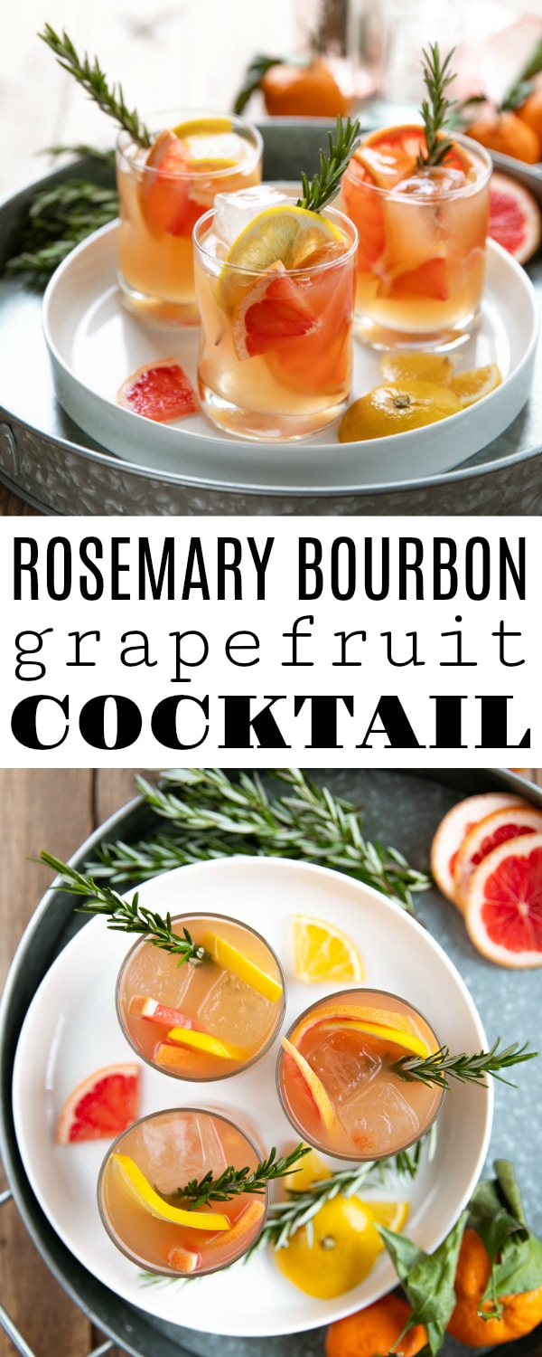 Rosemary Brown Derby - a smooth and refreshing bourbon and grapefruit cocktail made with bourbon, honey, fresh grapefruit juice, and fresh rosemary. #cocktailrecipe #brownderby #bourbon #whiskey #bourboncocktail #easycocktail #alcoholrecipe | For this recipe and more visit, https://theforkedspoon.com