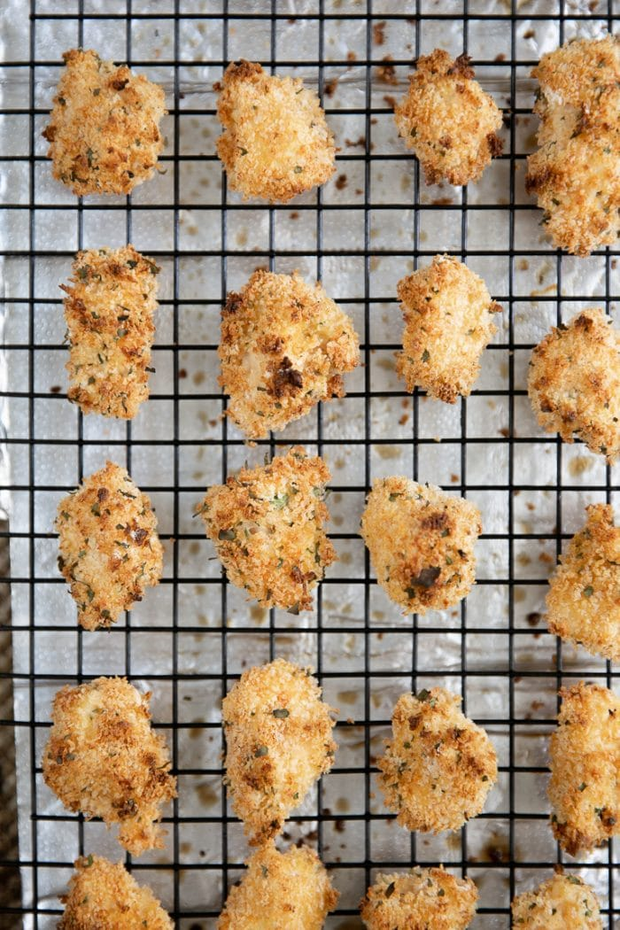 baked popcorn chicken on a cooling rack