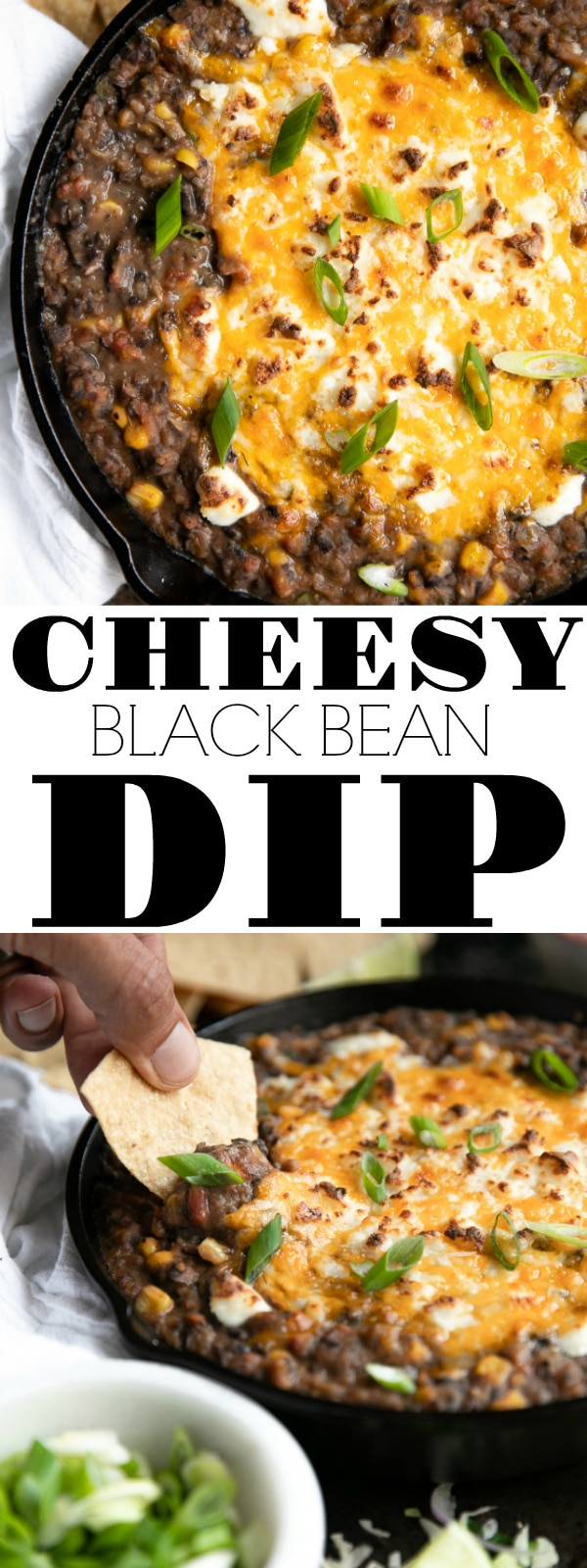 Easy Black Bean Dip Recipe with Cheese and Corn is loaded with hot and gooey cheese, sweet corn, green onions, and juicy tomatoes. Made with your favorite homemade or store-bought refried black beans, this delicious black bean dip is perfect served alongside your favorite Mexican dishes or at your next backyard bbq #blackbeans #beandip #refriedbeans #partyfood #cheese #chipsanddip #mecicandip #mexicanfood #texmex | For this recipe and more visit, https://theforkedspoon.com