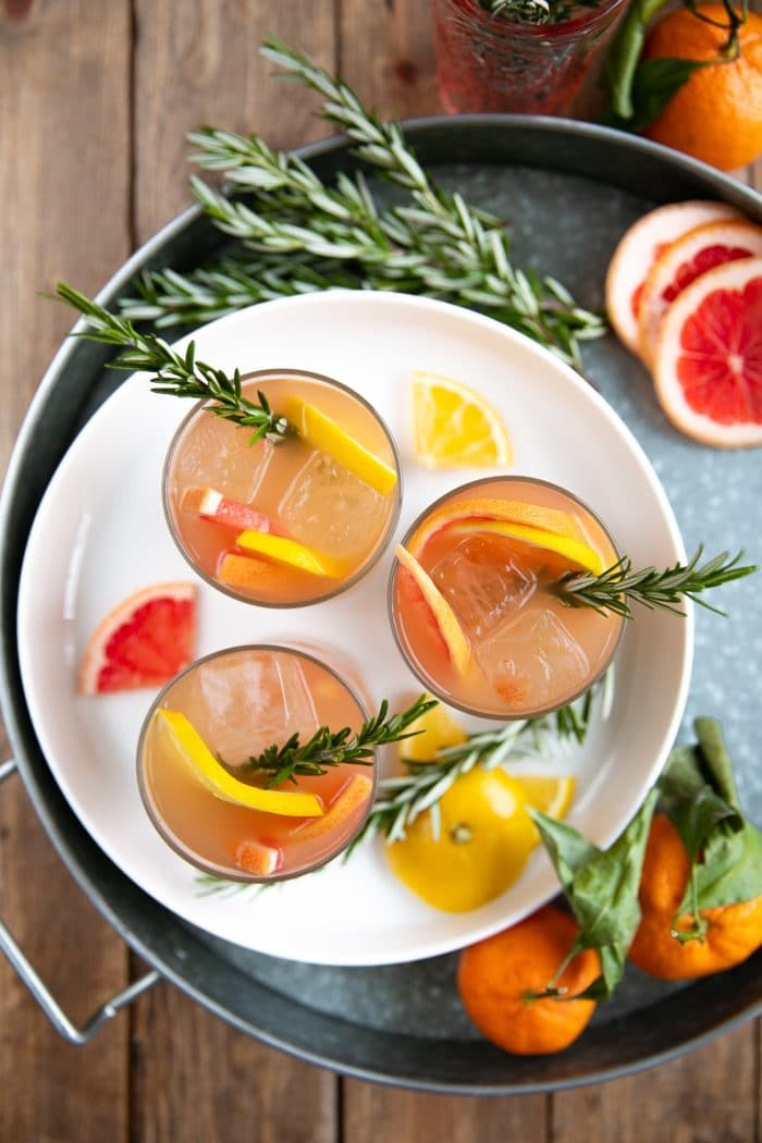 Overhead image of tray holding Rosemary Brown Derby (Bourbon and Grapefruit Cocktail)