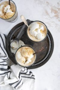 Affogato overhead image with two glasses
