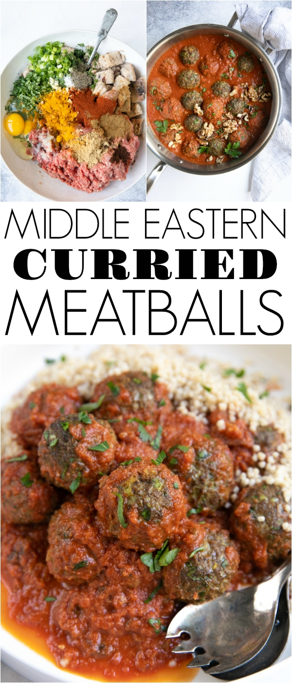 Middle Eastern Curried Lamb Meatballs - made with a mixture of ground lamb, ground beef, fresh herbs, spices, rustic bread, and non-dairy Walnutmilk #ad @MarianiWalnutmilk #marianiwalnutmilk #walnutmilk #dairyfree #meatballs #middleeastern #easyrecipe #easydinneridea #mealprep | For this recipe and more visit, https://theforkedspoon.com/curried-lamb-meatballs