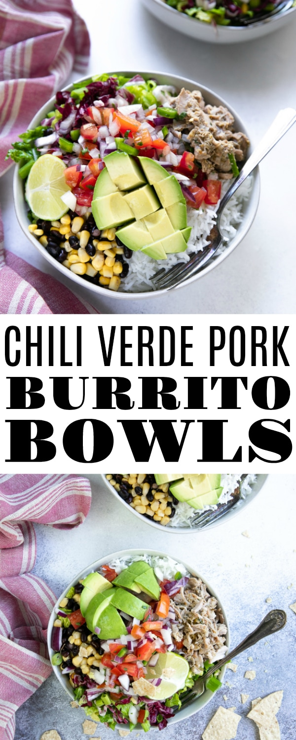 Chili Verde Pork Burrito Bowls- juicy pieces of slow-cooked chili Verde pork served with rice, crunchy greens, sweet corn, black beans, fresh pico de gallo, and fried tortilla chips. It's everything you'd want in a burrito, minus the tortilla. #chiliverdepork #chiliverde #slowcookerrecipe #burritobowl #easydinneridea | For this recipe and more visit, https://theforkedspoon.com