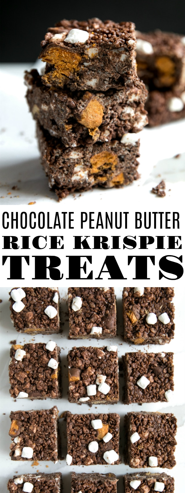 Chocolate Peanut Butter Rice Krispie Treats - fun, festive, and chocolaty twist on the classic, much-loved Rice Krispie Treat Bars. #butterfinger #ricekrispietreats #peanutbutter #chocolate #dessert #marshmallow #halloween | For this recipe and more visit, https://theforkedspoon.com/peanut-butter-rice-krispie-treats