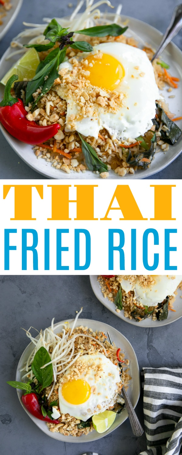 Easy Thai Fried Rice Recipe- bursting with the tastes and flavors of Thai cuisine and is ready in under 30 minutes! This version comes topped with a fried egg and cooked with fresh Thai basil leaves for a fun and delicious alternative to classic Thai Fried Rice. #friedricerecipe #thaifriedrice #thairecipe #easythaifood #thaibasil #thaifood #easydinneridea #30minutemeal | For this recipe and more visit, https://theforkedspoon.com/thai-fried-rice-recipe