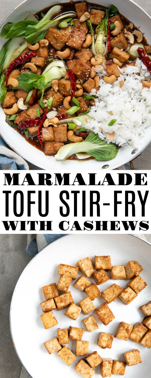 Marmalade Tofu Stir Fry with Cashews is an easy 30-minute vegetarian dinner made with delicious cubes of firm tofu, baby bok choy, cashews, sesame seeds, and green onion mixed together in a sweet and spicy orange marmalade sauce #vegetarian #tofustirfry #stirfryrecipe #tofurecipe #bokchoy #easydinner #meatlessmonday #helathydinner #orangemarmalade | For this recipe and more visit, https://theforkedspoon.com
