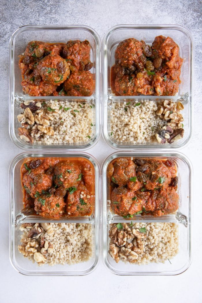 Curried lamb meatball meal prep