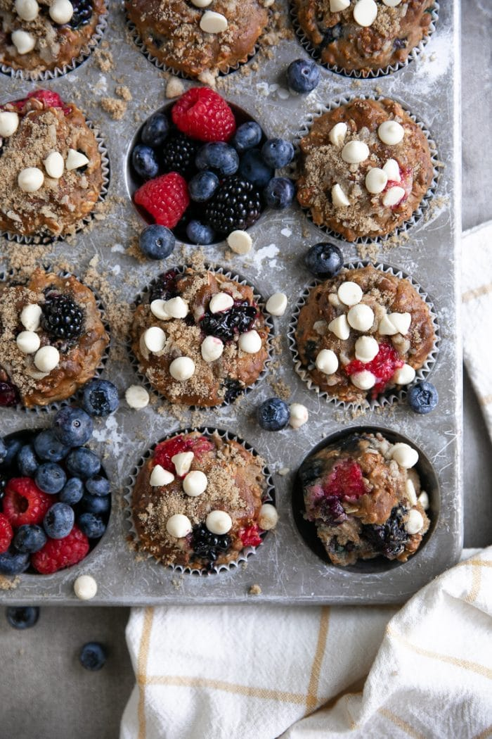 Muffin time with Berry yogurt muffins topped with white chocolate chips