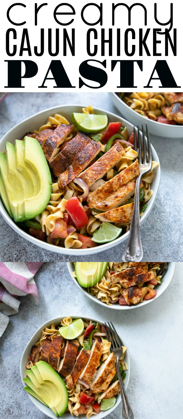 Creamy Cajun Chicken Pasta Recipe is filled with egg noodles, bell pepper, juicy tomatoes, red onion, creamy avocado, and loads of flavorful cajun-spiced baked chicken. Delicious served warm or cold. #chickenpasta #chicken #pastasalad #cajunchicken #cajunrecipe #easydinner #potluckidea #tailgaitingrecipe | For this recipe visit, https://theforkedspoon.com/creamy-cajun-chicken-pasta-recipe/