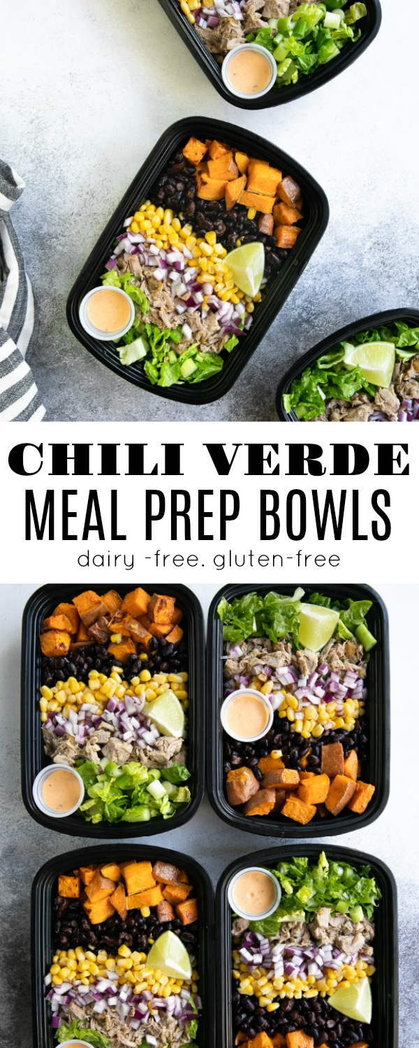 Pork Green Chili Verde Meal Prep Bowlsare loaded with chunks of slow-cooked green chili Verde, roasted sweet potato, fresh greens, black beans, sweet yellow corn, and diced red onion #mealprep #chiliverderecipe #sweetpotatoes #porkrecipe #easymealprep #greenchiliverde #chiliverde | For this recipe and more visit, https://theforkedspoon.com