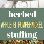 thanksgiving stuffing with chopped apples and pumpernickel bread