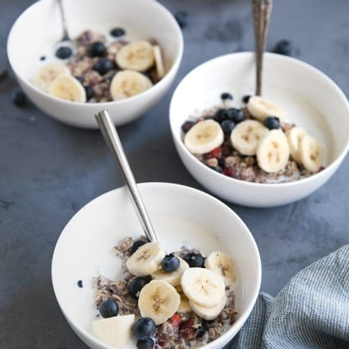 Bowls of instant oatmeal with berries