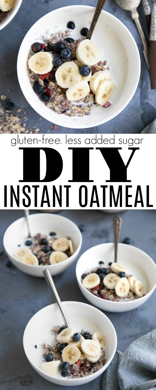 DIY 6-ingredient Healthy Instant Oatmeal Recipe is made with rolled oats, chia seeds, toasted flax seeds, brown sugar, freeze-dried berries, and dried blueberries. #instantoatmeal #mealprep #breakfastrecipe #healthybreakfastideas #oatmeal | For this recipe and more visit, https://theforkedspoon.com/instant-oatmeal-recipe/