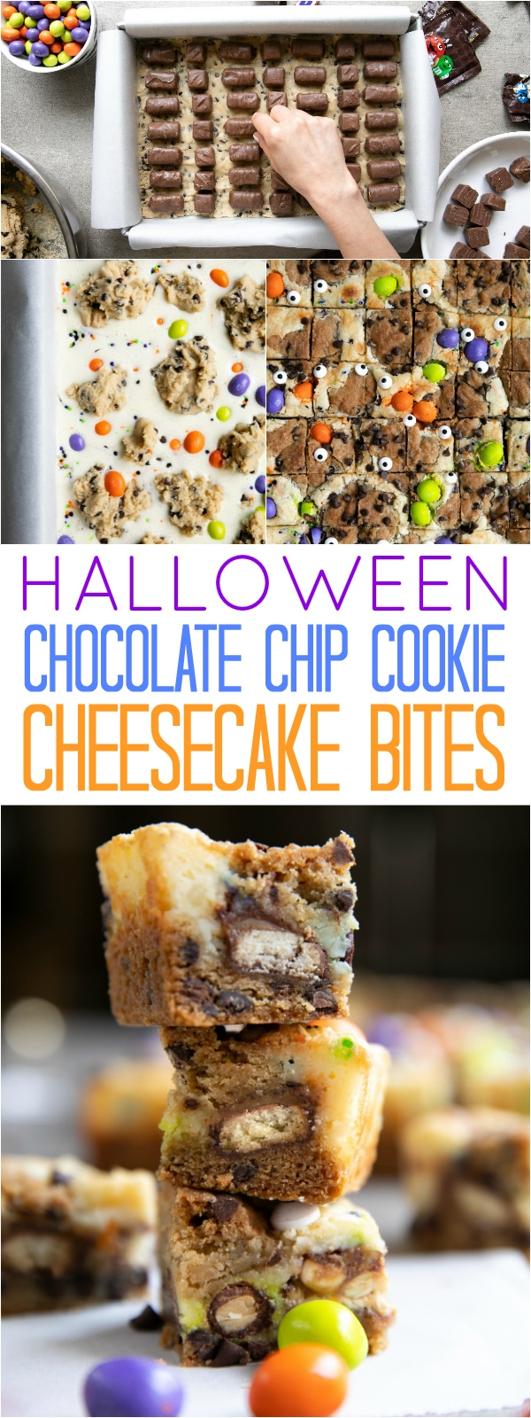 Halloween Chocolate Chip Cookie Cheesecake Bites- Made with homemade chocolate chip cookie dough, cheesecake, Fun Size M&M'S®, SNICKERS® & TWIX®, these delicious Cheesecake Bites are guaranteed to be the hit of any party. #ad #halloween #twix #snickers #dessert #halloweentreats #cheesecake #cookies | For this recipe and more visit, https://theforkedspoon.com/chocolate-chip-cookie-cheesecake/