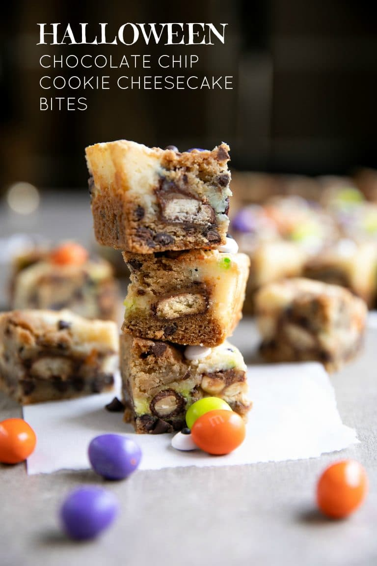 chocolate chip cookie cheesecake bites (halloween) - the forked spoon