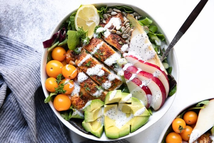 Overhead image of Autumn Chicken and Pear Salad with Poppyseed Dressing