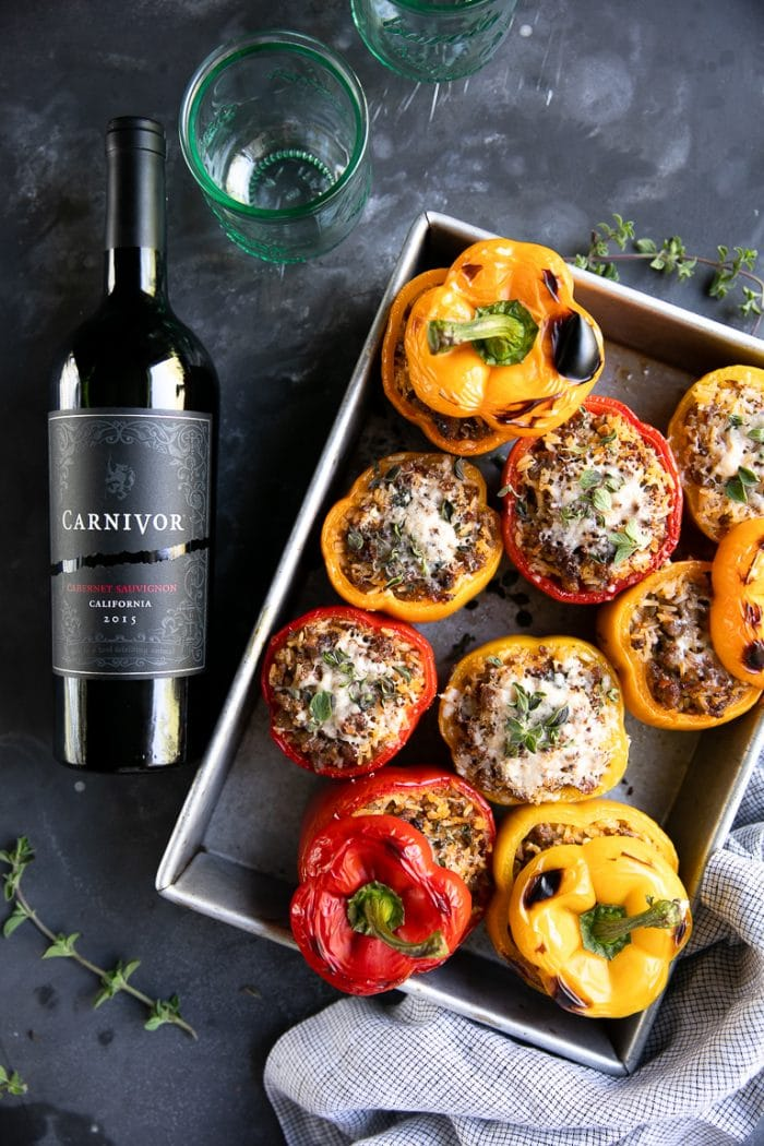 5 Ingredient Sausage Stuffed Peppers with wine