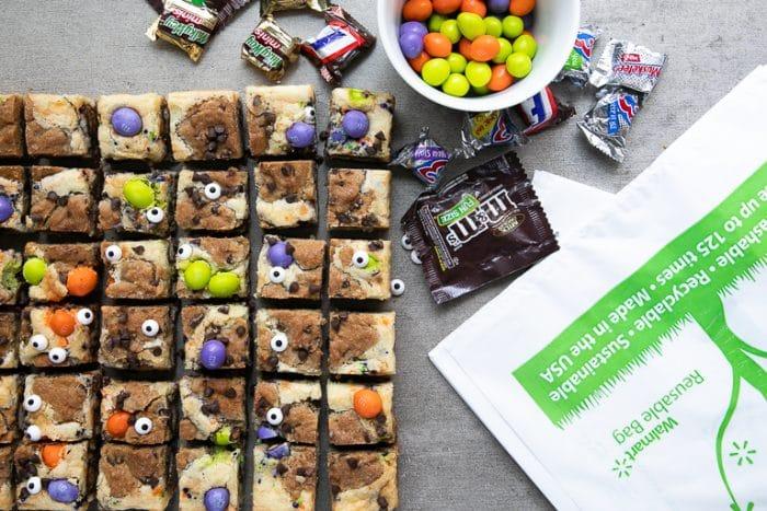 Sliced square Halloween Chocolate Chip Cookie Cheesecake Bars