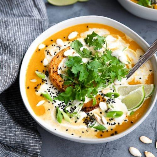 A bowl Miso Butternut Squash Soup
