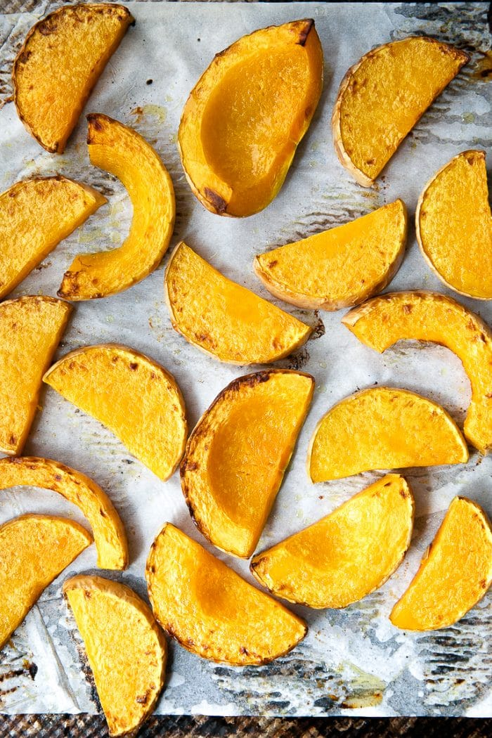 Baking sheet with roasted butternut squash