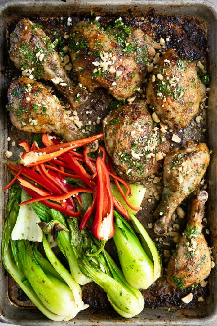 Easy Sheet Pan Thai Chicken with Bok Choy