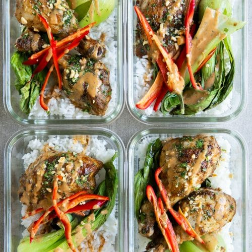 4 Meal Prep containers with Thai Chicken bok choy and rice