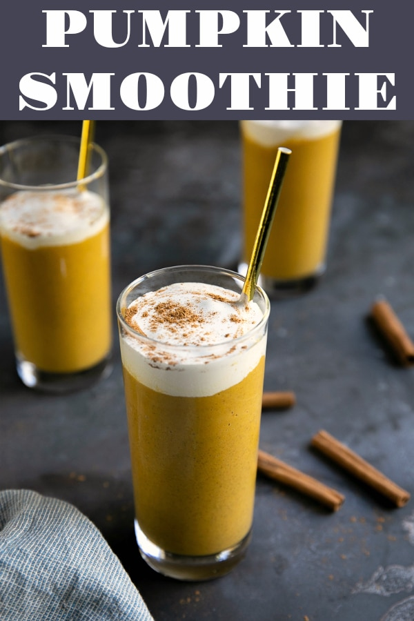 Healthy Pumpkin Pie Smoothie - Creamy and delicious, this kid-approved pumpkin smoothie is the perfect fall treat. #pumpkin #pumpkinrecipe #smoothierecipe #healthy #pumpkinpie #breakfastsmoothie | For this recipe and more visit, https://theforkedspoon.com/pumpkin-smoothie-recipe