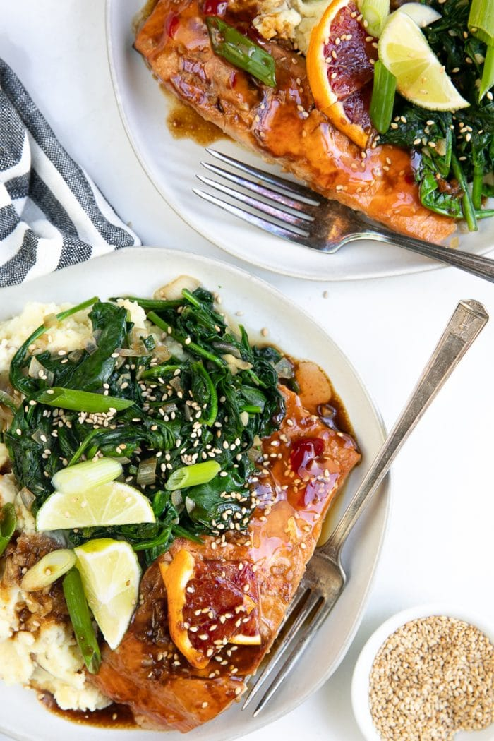 Honey Soy Salmon with Goat Cheese Mashed Potatoes