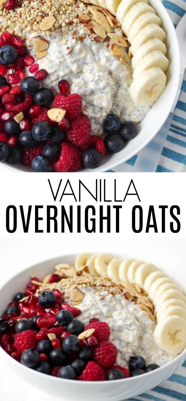 Easy Vanilla Overnight Oat Breakfast Bowl with Mixed Fruit #overnightoats #glutenfree #breakfastrecipe #mealprep #easyrecipe #vanillaovernightoats #rolledoats