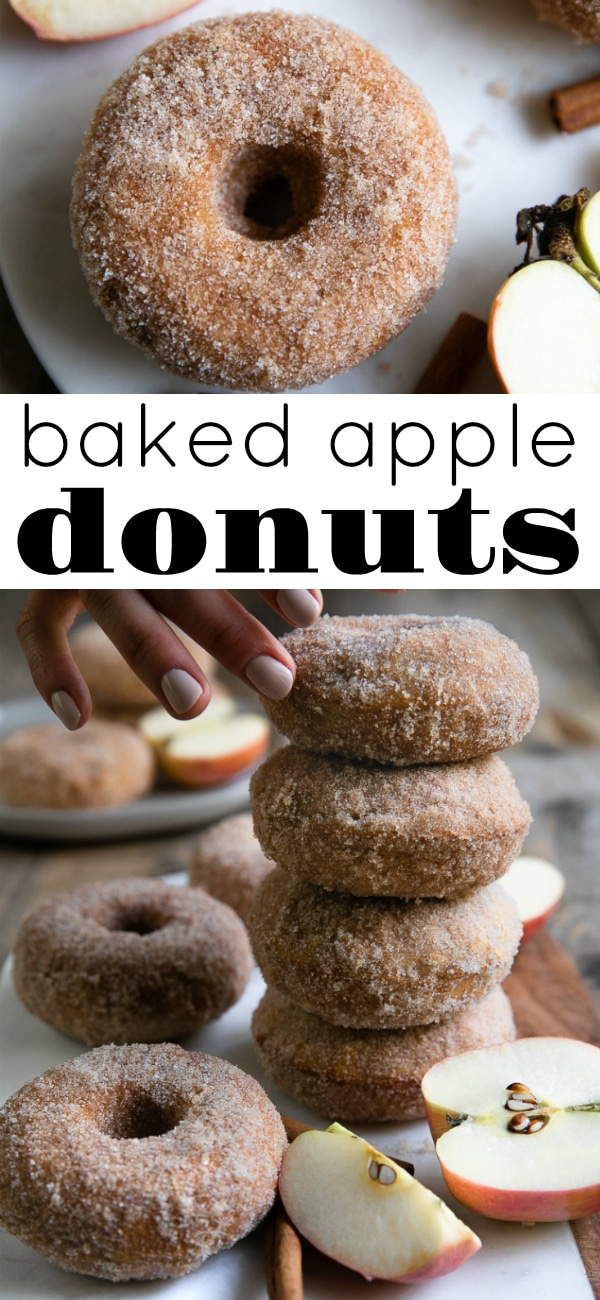 Apple Donuts- Soft pillowy inside, sweet crunchy outside, these deliciousCinnamon Sugar Baked Apple Donuts go perfectly with your morning cup of coffee or fresh out of the oven with a scoop of vanilla ice cream. #appledonuts #donuts #doughnuts #donutrecipe #sugardonut #applerecipe | For this recipe and more visit, https://theforkedspoon.com/apple-donuts/
