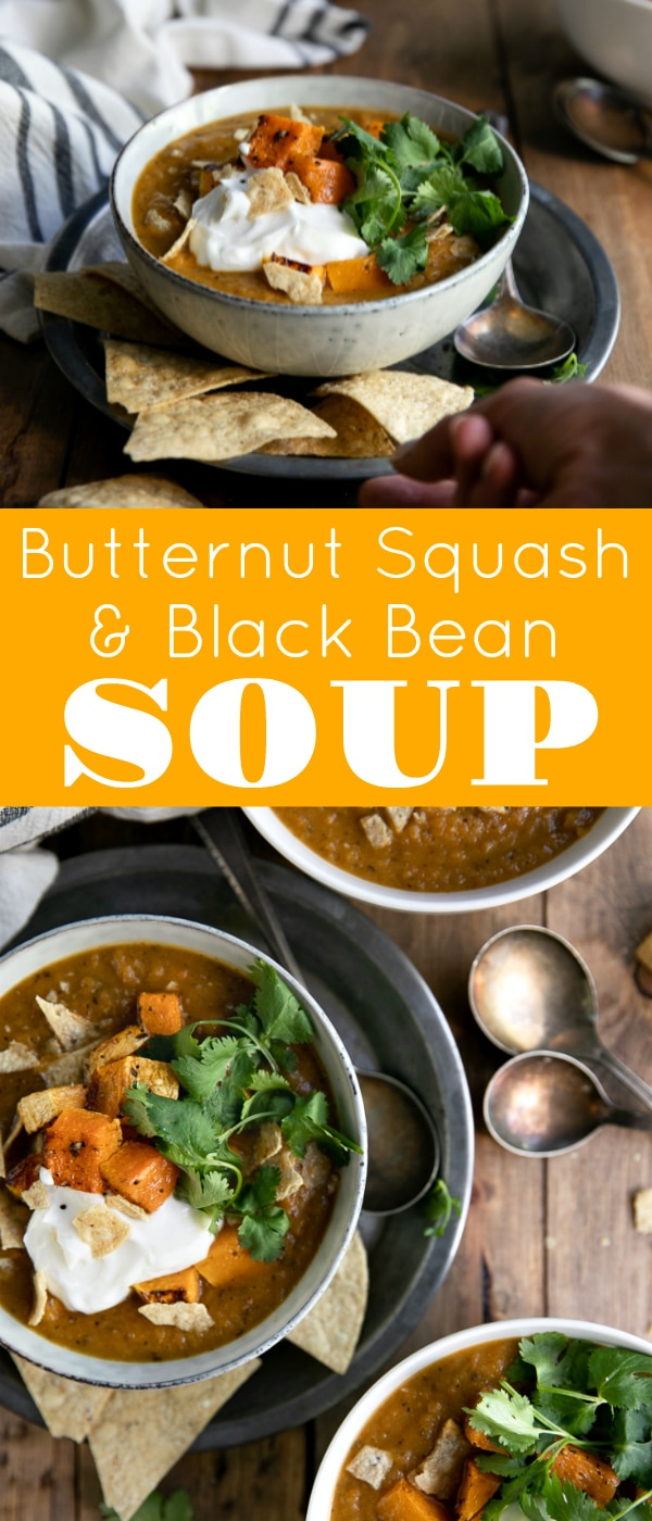 Butternut Squash Black Bean Soup. Delicious, healthy, and creamy (minus the cream), this comforting butternut squash and black bean soup is everything you need to keep warm through the cold winter months. #soup #vegetarian #butternutsquashsoup #blackbeansoup #butternutsquashrecipe #souprecipe | For this recipe and more visit, https://theforkedspoon.com/black-bean-butternut-squash-soup/