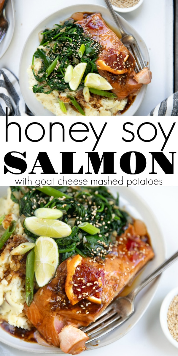 Honey Soy Salmon- marinated in a sweet honey and orange chili sauce and oven-baked until moist and flaky, this salmon is perfect served with a side of creamy goat cheese mashed potatoes and sautéed spinach. #salmon #salmondinner #honeysoysalmon #goatcheese #mashedpotatoes #easydinner | For this recipe and more visit, https://theforkedspoon.com/honey-soy-salmon/