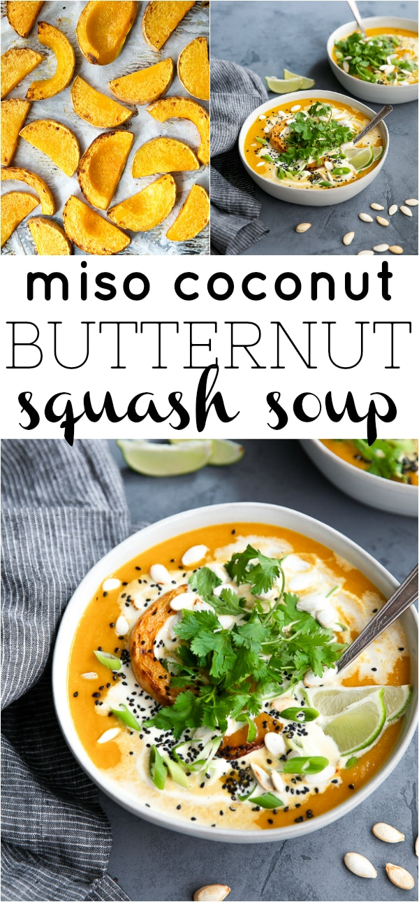 Miso Coconut Butternut Squash Soup- made with roasted and caramelized butternut squash, creamy coconut milk, and white miso to create a smooth, creamy, and gluten-free vegetable-filled soup loved by the whole family. #vegan #vegetariansoup #glutenfreesoup #dairyfreesoup #misosoup #butternutsquashsoup #squashsoup #souprecipe #healthysoup | For this recipe and more visit https://theforkedspoon.com/squash-soup/