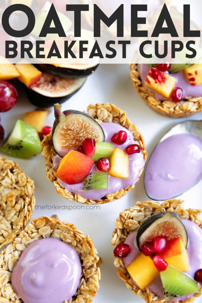 Baked Oatmeal Cups Recipe Pinterest Pin Image