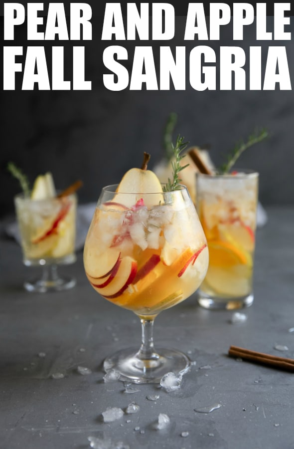 Pear and Apple Fall Sangria Recipe- filled with fall's most iconic flavors, this delicious and refreshing white wine fall sangria is filled with sweet apples, pears, oranges, and cinnamon. #sangria #fallsangria #autumnsangria #applesangria #pear #whitewinesangria | For this recipe and more visit, https://theforkedspoon.com/fall-sangria-recipe/