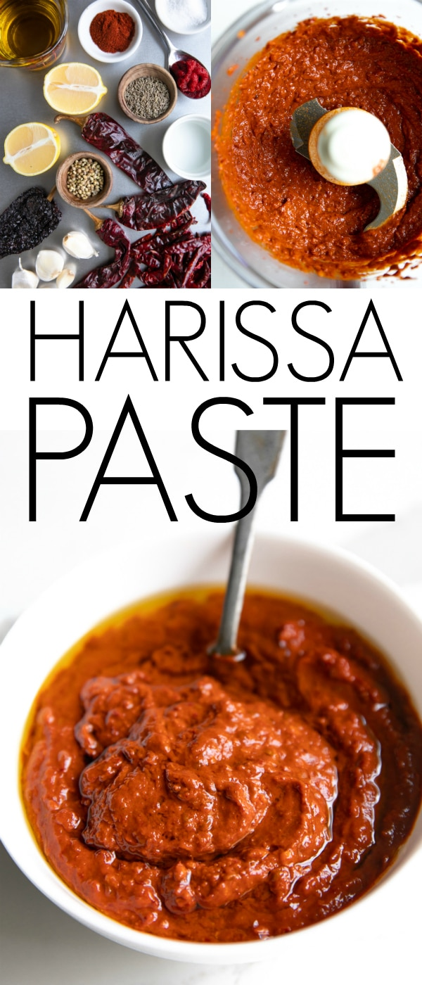 Homemade Harissa Paste. A flavorful chili pepper paste made from dried chilis, garlic, olive oil, and toasted spices, learning how to make harissa is easy and fun. #harissa #harissapaste #harissarecipe #spicyrecipe #chilies | For this recipe and more visit, https://theforkedspoon.com/harissa-paste/