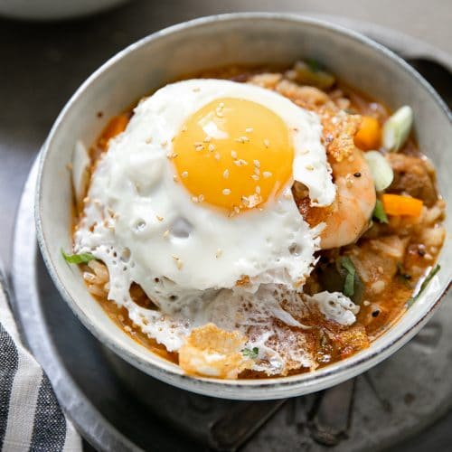 A bowl of Jambalaya with a Fried Egg