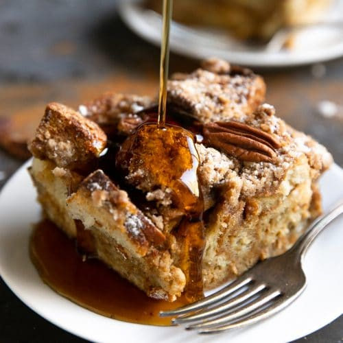 A piece of french toast casserole on a plate