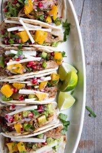 A plate of Harissa Lamb Tacos