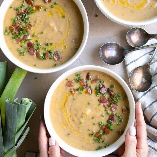 A bowl of Cauliflower leak potato soup