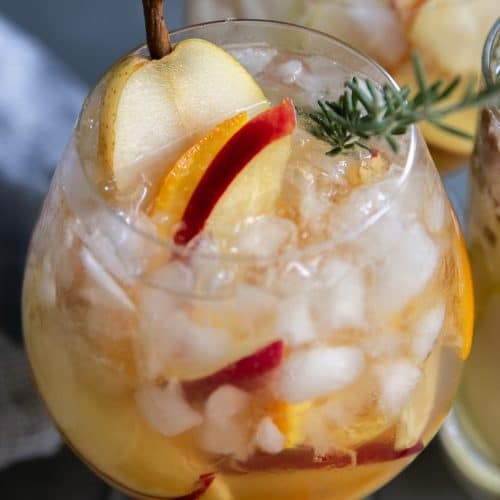 A close up of apple-pear Sangria